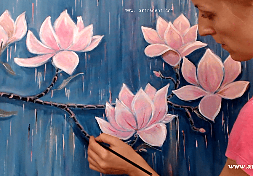 Art lesson, panel picture — the blooming magnolia branch, acrylic art lesson for beginners