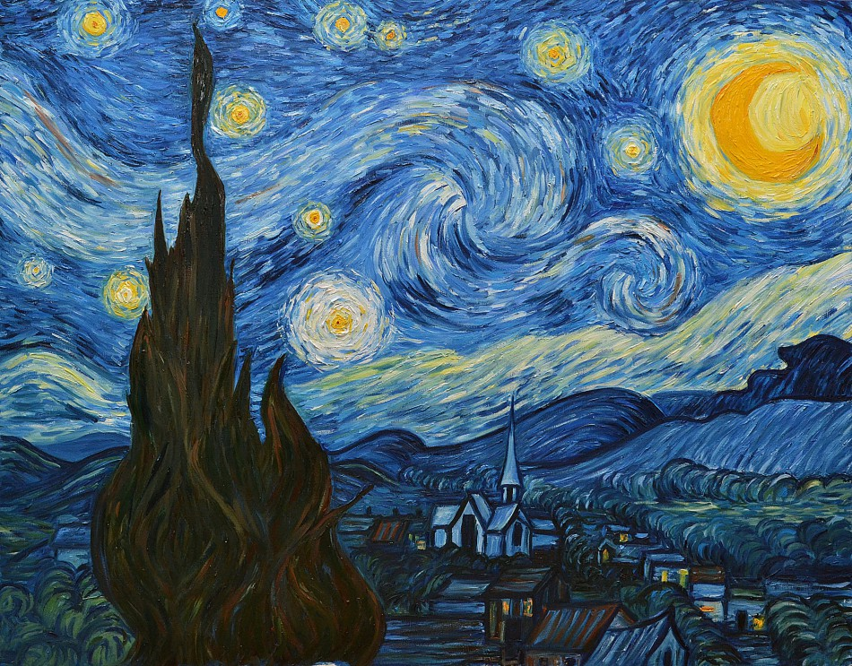 Oil painting lesson «Starlight night», learning to paint as Van Gogh